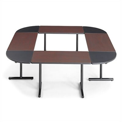"ABCO Smart Tables: 18"" x 48"" Rectangle Thermofused Melamine Conference Table With Fixed Bases and 90 Degree Corner Wedges"