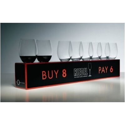 "Riedel Pay 6 Get 8 ""O"" Cabernet/Chardonnay Wine Glass Set"