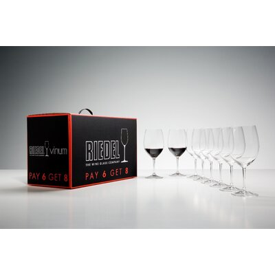 Riedel Pay 6 Get 8 Vinum Cabernet/Bordeaux Wine Glass Set (Set of 8)
