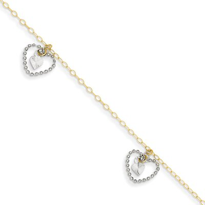 Twisted and Diamond Cut Hearts Link Bracelet