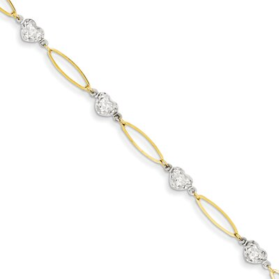 Heart Diamond Cut Beads Link Bracelet