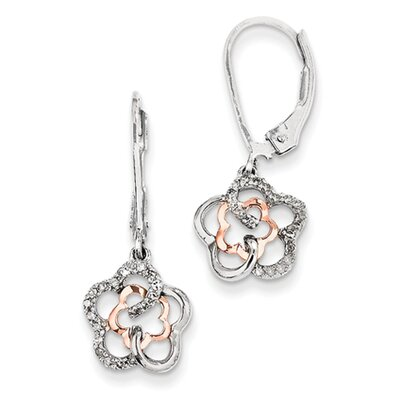 Sterling Silver & 14k Gold Flower Diamond Leverback Earrings