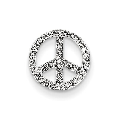 14k White Gold Peace Sign Diamond Slide Pendant