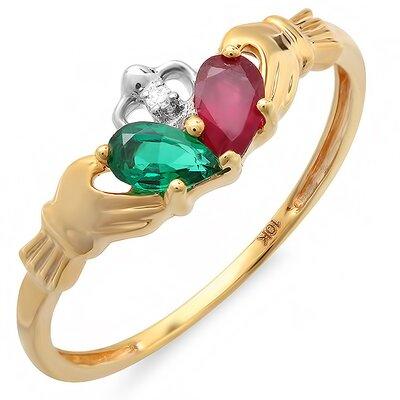 10K Yellow Gold Pear Cut Gemstone Claddagh Ring