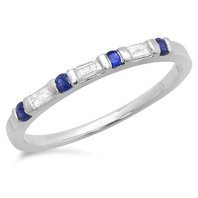 14K White Gold Round Cut Sapphire Anniversary Wedding Band