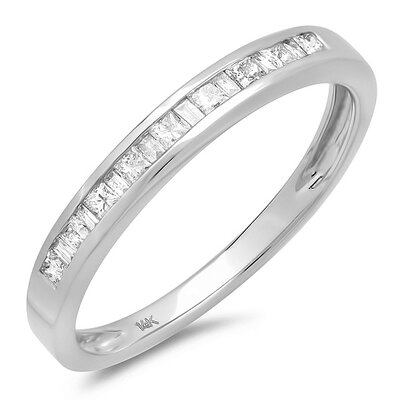 14K White Gold Princess Cut Diamond Anniversary Wedding Band