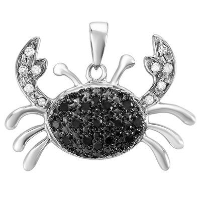Sterling Silver Diamond Crab Pendant