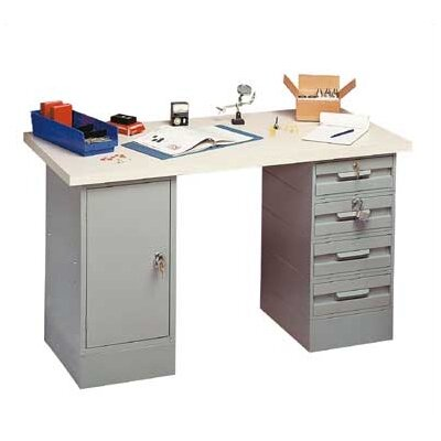 Penco Modular Work Benches - Steel Top, 4 Drawers, 1 Cabinet