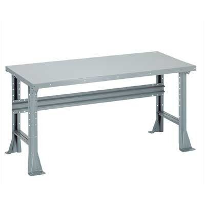 Penco Open Work Bench - Steel Top, Fixed Height with Shelf