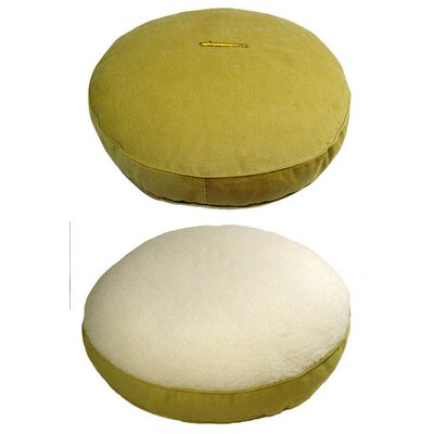 George SF Lime Corduroy and Sherpa Round Dog Pillow
