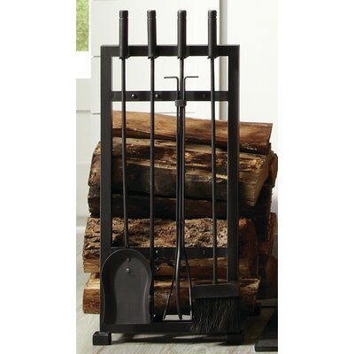 pleasant hearth 4 piece harper fireplace log holder and toolset
