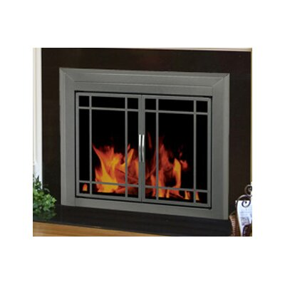 Edinburg Prairie Cabinet Style Fireplace Screen and 9-Pane Smoked Glass Door