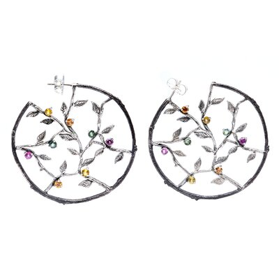 Nicole Round Cut Topaz Hoop Earrings