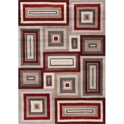 Kalora Mansoori Textured Red Squares Rug