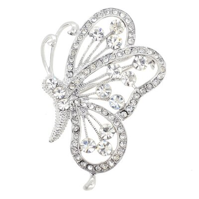 Flying Butterfly Crystal Brooch Pendant