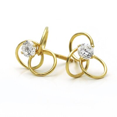 14K Love Knot Cubic Zirconia Stud Earrings