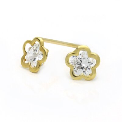 14K Flower Cubic Zirconia Stud Earrings