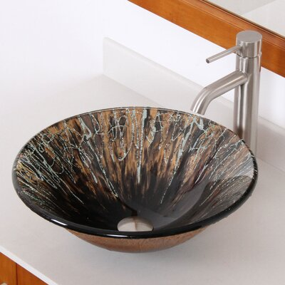 Handcrafted Glass Fanfare Bowl Vessel Bathroom Sink - 1310+P01008BN