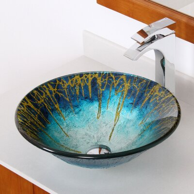 Enchantment Handcrafted Glass Fanfare Bowl Vessel Bathroom Sink - 1309+P01008C
