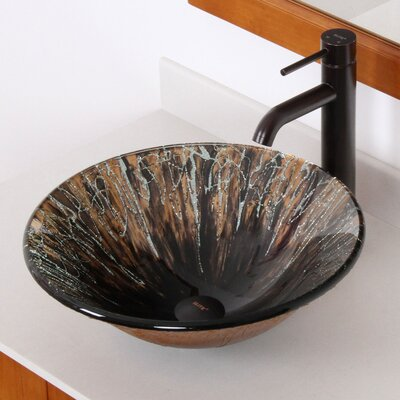 Handcrafted Glass Fanfare Bowl Vessel Bathroom Sink - 1310+P01008ORB