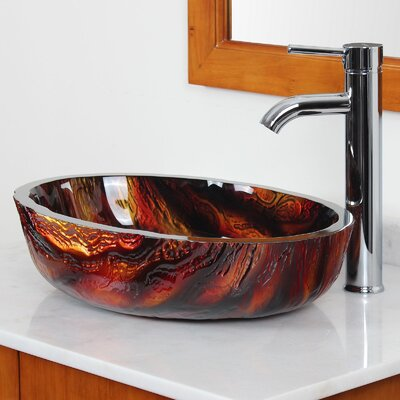 Marble Hot Melted Rock Pattern Glass Flat Bottom Bowl Vessel Bathroom Sink - 184E+P01C