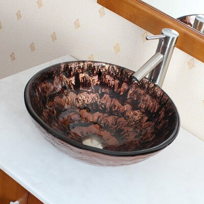 Slow Cascade Lava Hotmelted Glass Bowl Vessel Bathroom Sink - 1207+P01008BN