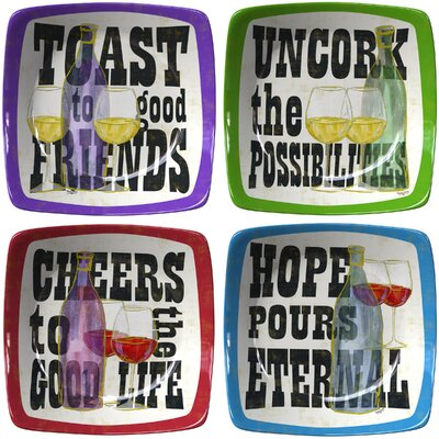 "Thirstystone 9.75"" Toast to Good Friends Winners Appetizer 4 Piece Plate Set"