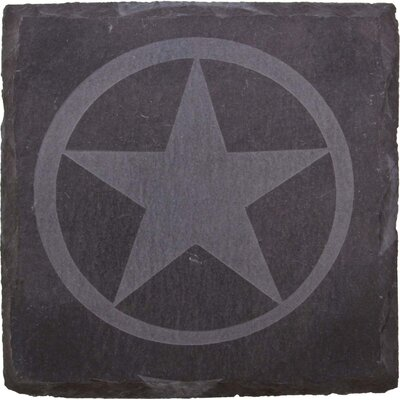 Etched Western Star Slate Coaster (Set of 4)
