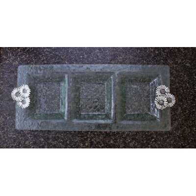 Thirstystone Daisy 3-Section Glass Rectangular Serving Tray