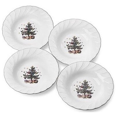 "Nikko Ceramics Happy Holidays 9"" Rim Soup Bowl (Set of 4)"