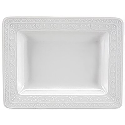 "Nikko Ceramics Blanc Fleur 6.25"" Rectangular Serving Tray"