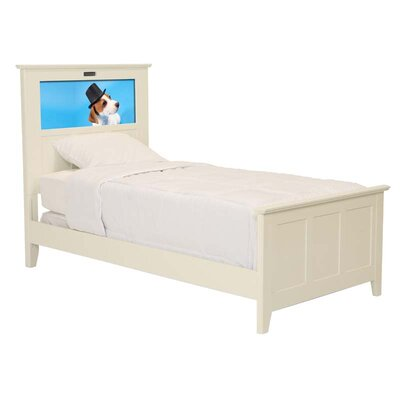 LightHeaded Beds Shaker Twin Panel Bed with Dapper Dog and Dolphins Interchangeable HeadLightz