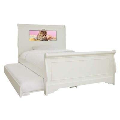 LightHeaded Beds Edgewood Full Sleigh Bed with Trundle, Kitten and Dolphins Interchangeable HeadLightz