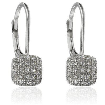 Sterling Silver Cubic Zirconia Square Leverback Earrings
