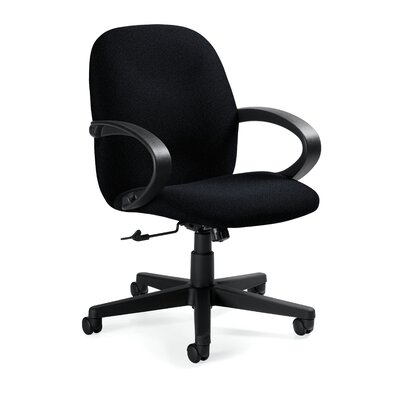 Global Total Office Enterprise Low-Back Pneumatic Office Chair with Fixed Height Loop Arms