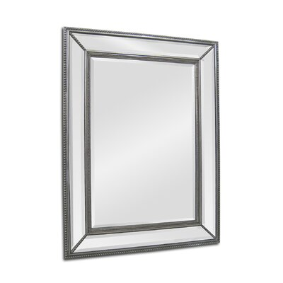 Beveled Rectangular Wall Mirror in Silver
