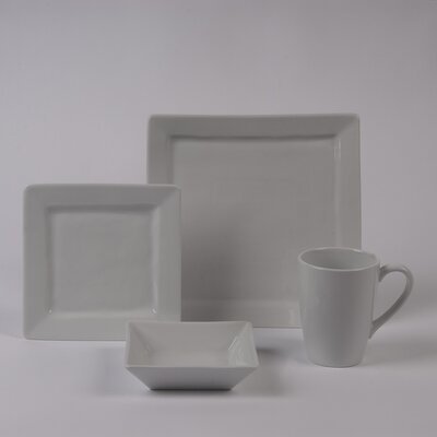 Pillivuyt Quartet 4 PC Dinnerware Set with Rimmed Bowl
