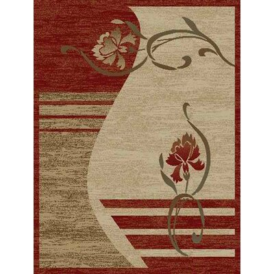 Royal Dark Red/Beige Floral Rug
