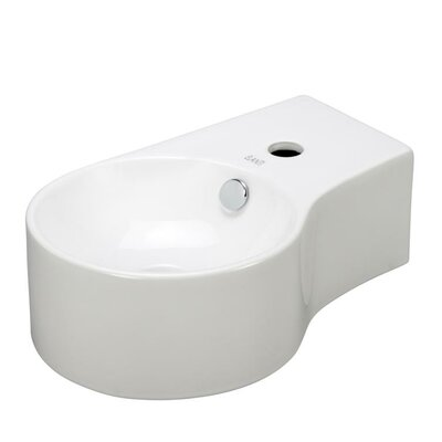 Porcelain Round Wall Mounted Deep Bowl Left Facing Sink - EC9849-L