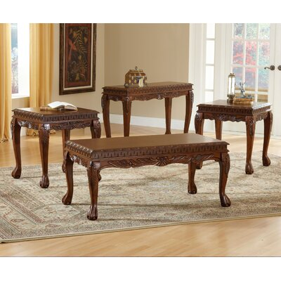 Bernards Carved 3 Piece Coffee Table Set