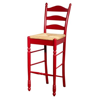 "TMS 24"" Ladder Back Stool in Red (Set of 2)"