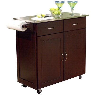tms venice kitchen island with stainless steel top august grove adelle a cart kitchen island with stainless