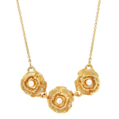 Triple Flower Faux Pearl Necklace