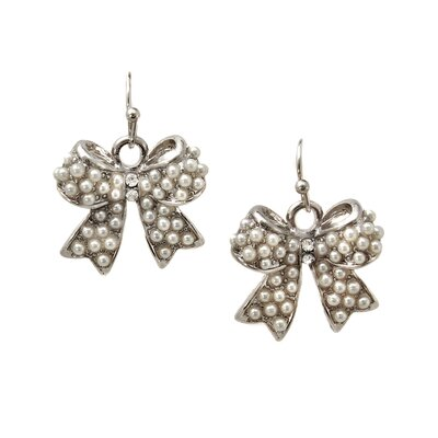 Mini Bow Faux Pearl Drop Earrings