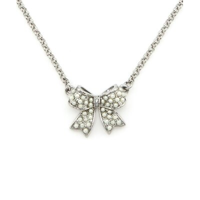 Faux Pearl Studded Bow Crystal Pendant Necklace