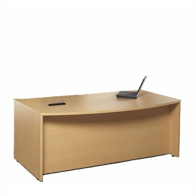 "High Point Furniture Bravo Panel 72"" W Double Pedestal Bowed Front Executive Desk"