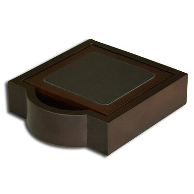 Dacasso 8000 Series Walnut and Leather Four Square Coasters with Holder in Black