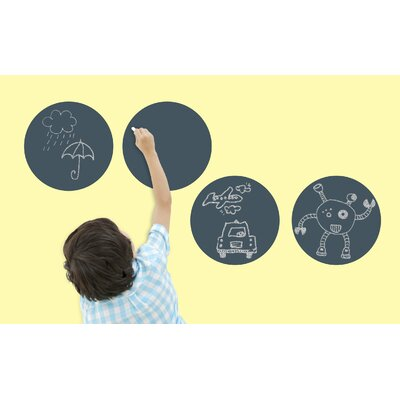 WallCandy Arts Big Chalkboard Circles Removable Wall Decals