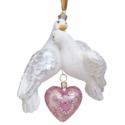 Reed & Barton Blown Glass Ornaments Two Turtle Doves