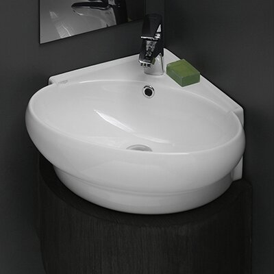 Mini Corner Ceramic Bathroom Sink - CeraStyle 002000-U